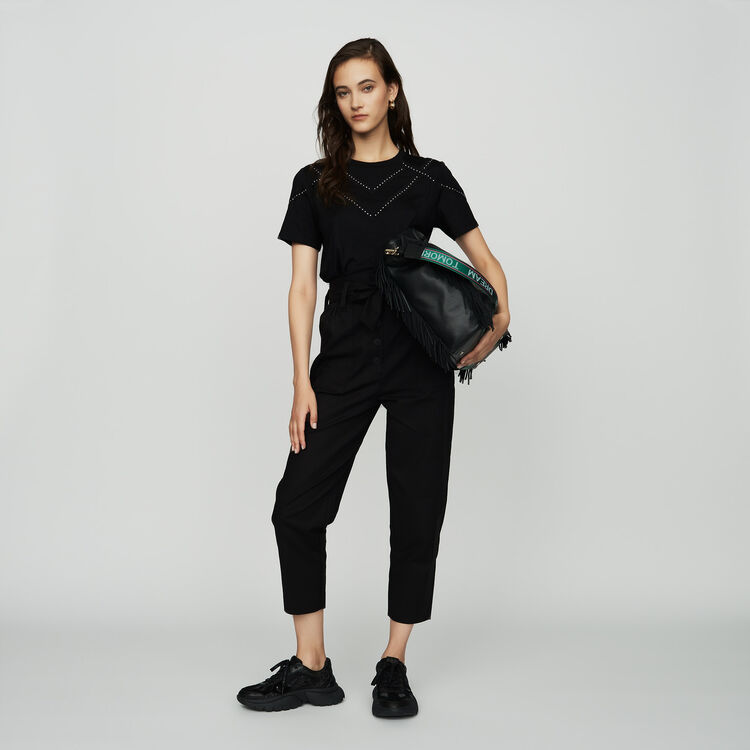 Tee-shirt loose avec studs : T-Shirts couleur Black