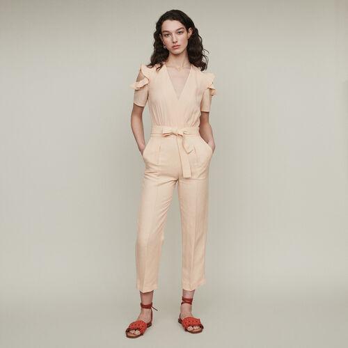 Combi-pantalon bimatière : Pantalons couleur Mandarine