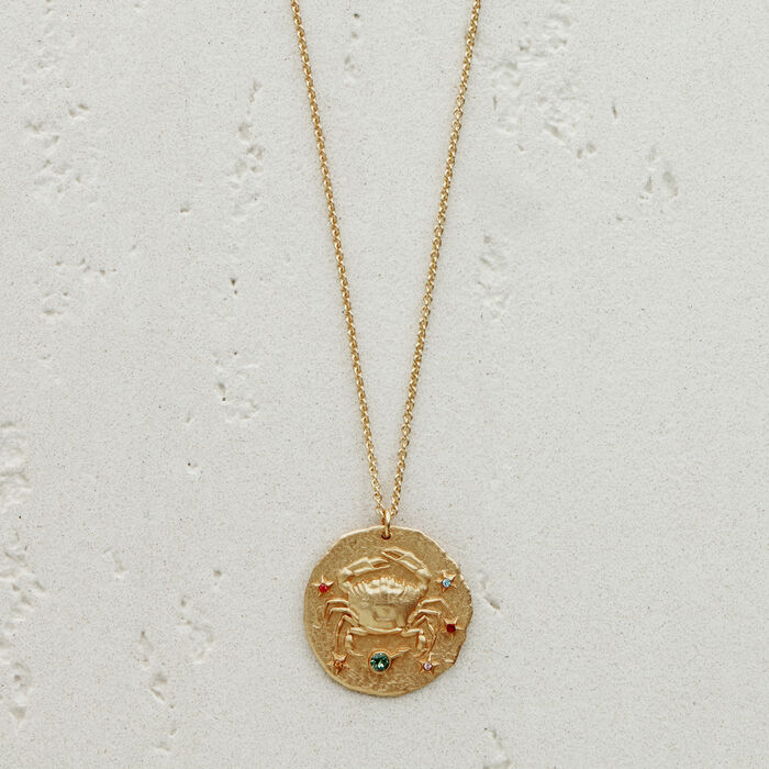 Collier Cancer signe du zodiaque : Bijoux couleur OR