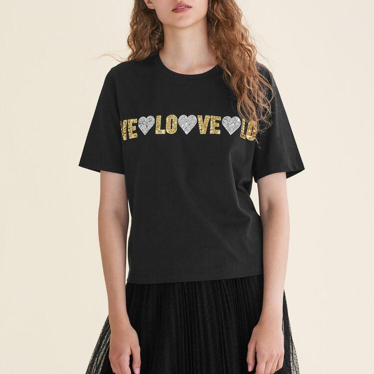 Tee-shirt en coton avec sequins - T-Shirts - MAJE