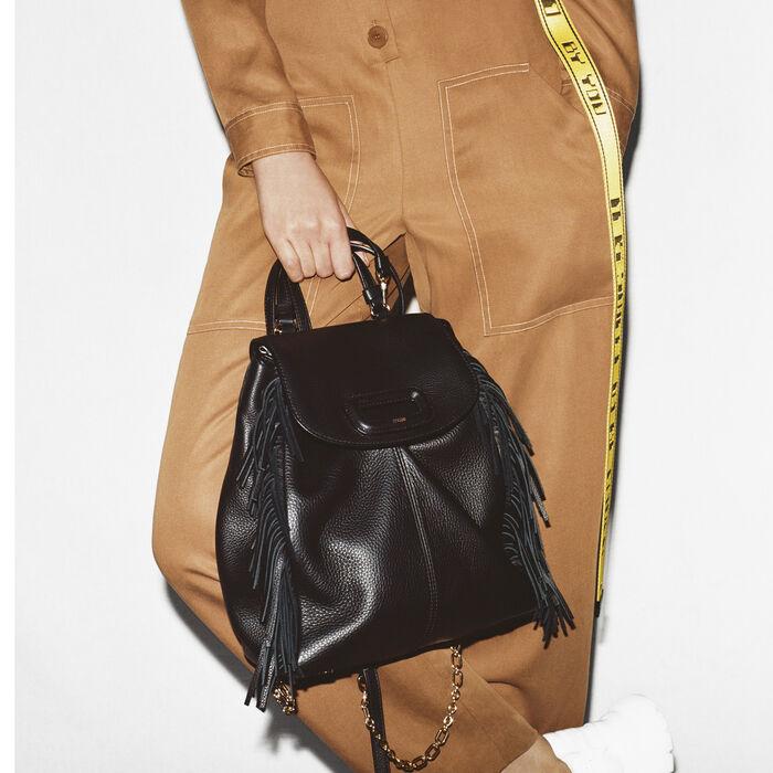 Sac à dos M en cuir avec chaine : M Back couleur Black