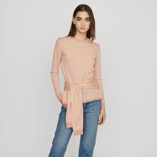 Pull fin avec lien à nouer : Pulls & Cardigans couleur Corail