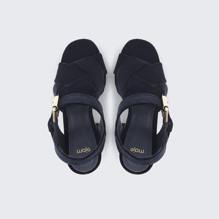 Sandales à talons en velours avec studs : Accessoires couleur BLEU NUIT