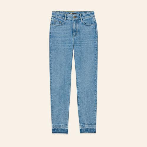 Jean droit délavé : Jeans couleur BLEU