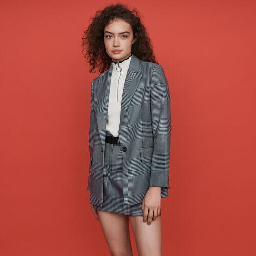 Veste droite à carreaux : Vestes couleur Bleu
