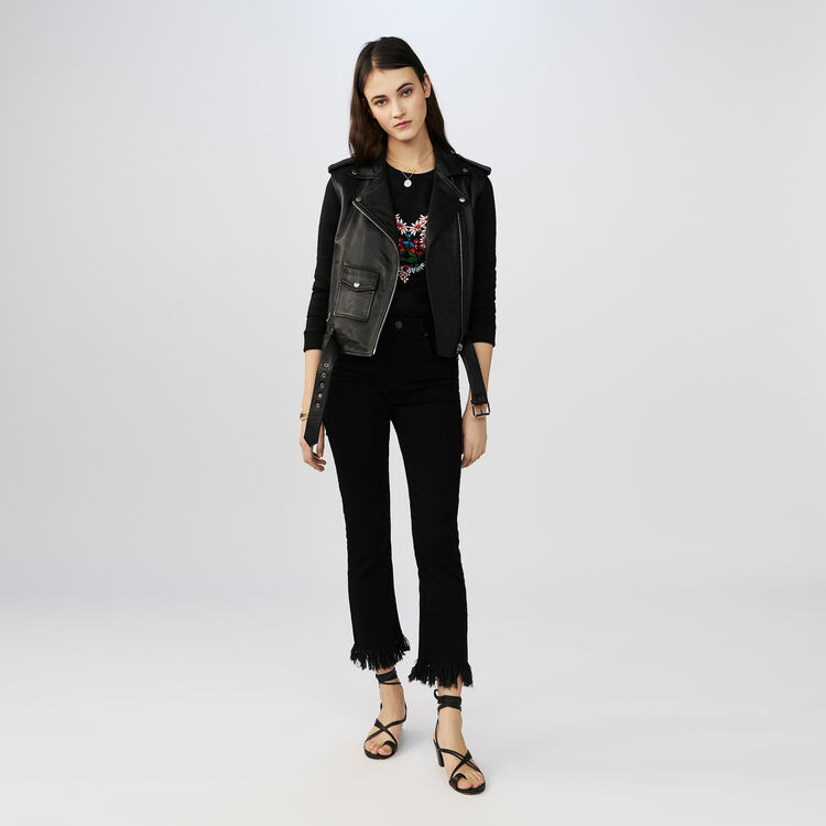 Jean droit à franges : Pantalons couleur Black