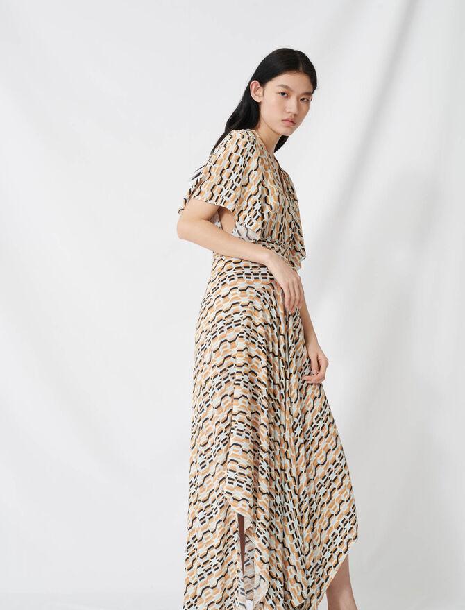Robe foulard imprimée à taille smockée - Robes - MAJE