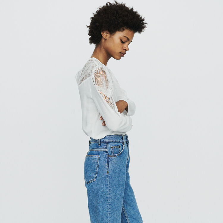 Top avec dentelle : Tops & Chemises couleur Blanc