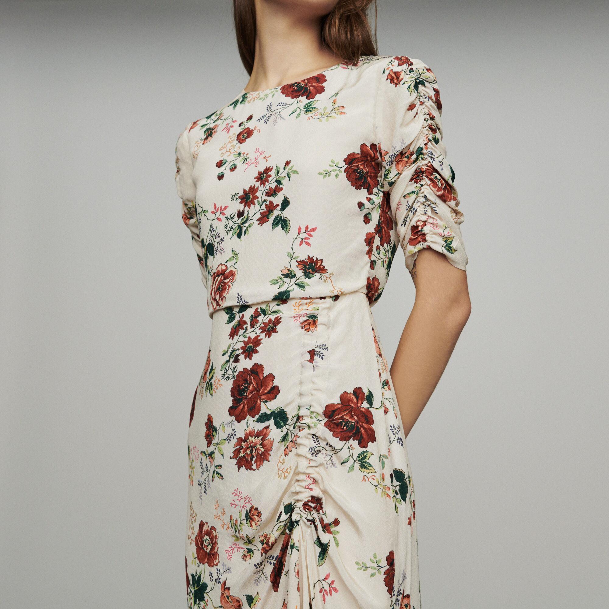 Maje Imprimé Rondi Froncée Longue Floral À Robes Paris Robe OqxT0Cw1nF