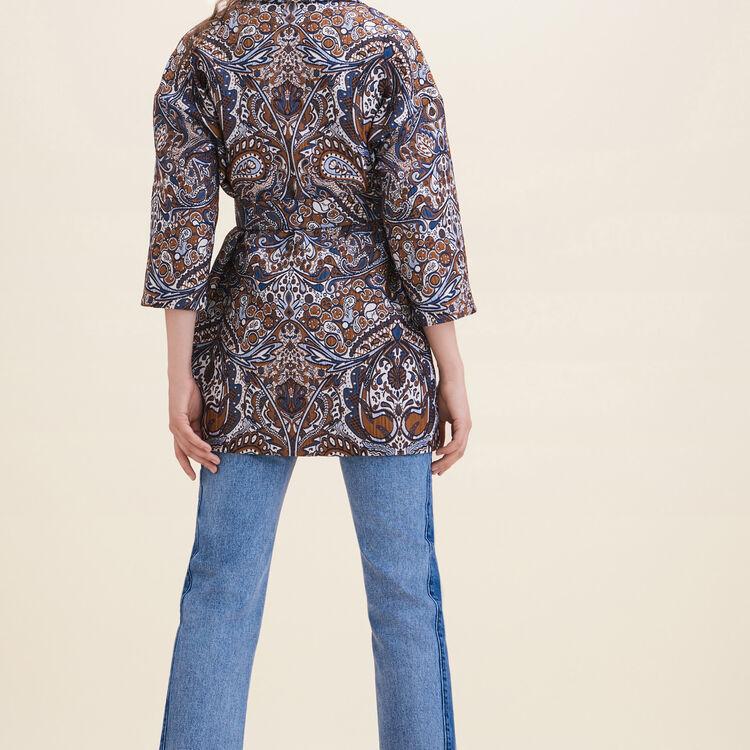 Veste longue en jacquard : Manteaux couleur JACQUARD