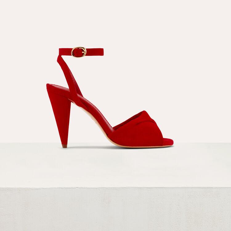 Sandales hautes en cuir de velours : Chaussures couleur Black