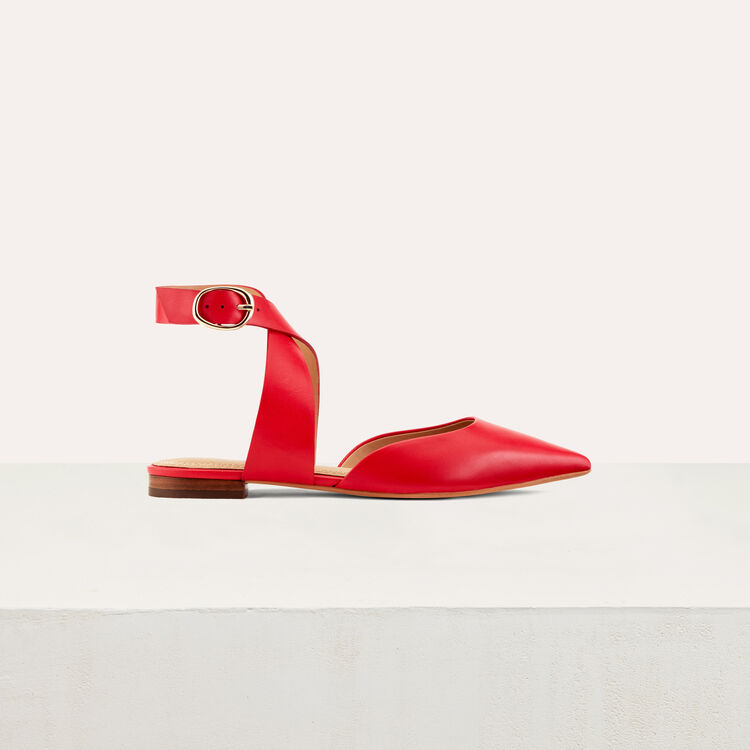 Ballerine en cuir et boucle cheville : Chaussures couleur Black