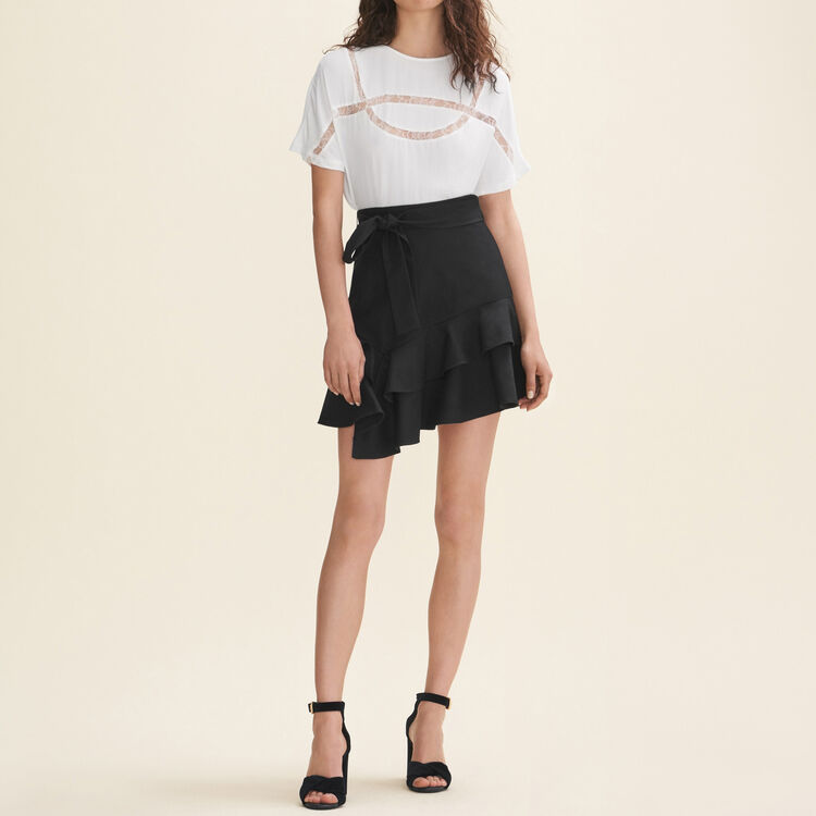 Tee-shirt fluide avec dentelle - T-Shirts - MAJE