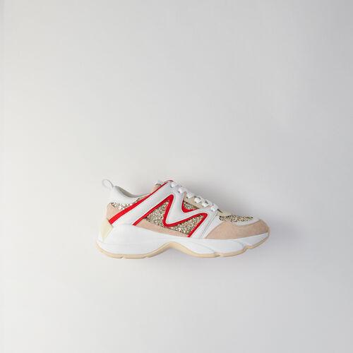 Sneakers W22 à paillettes : Sneakers couleur Argent
