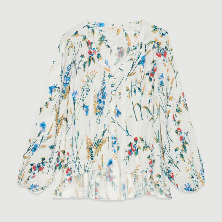 Top plissé bijou à imprimé herbier : Tops & Chemises couleur IMPRIME