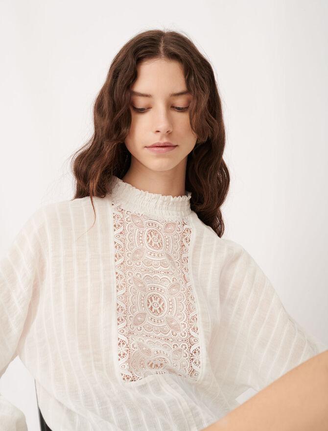 Top en coton, lurex et dentelle - Tops & Chemises - MAJE
