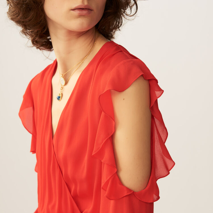 Robe portefeuille avec détails volantés : Robes couleur ROUGE