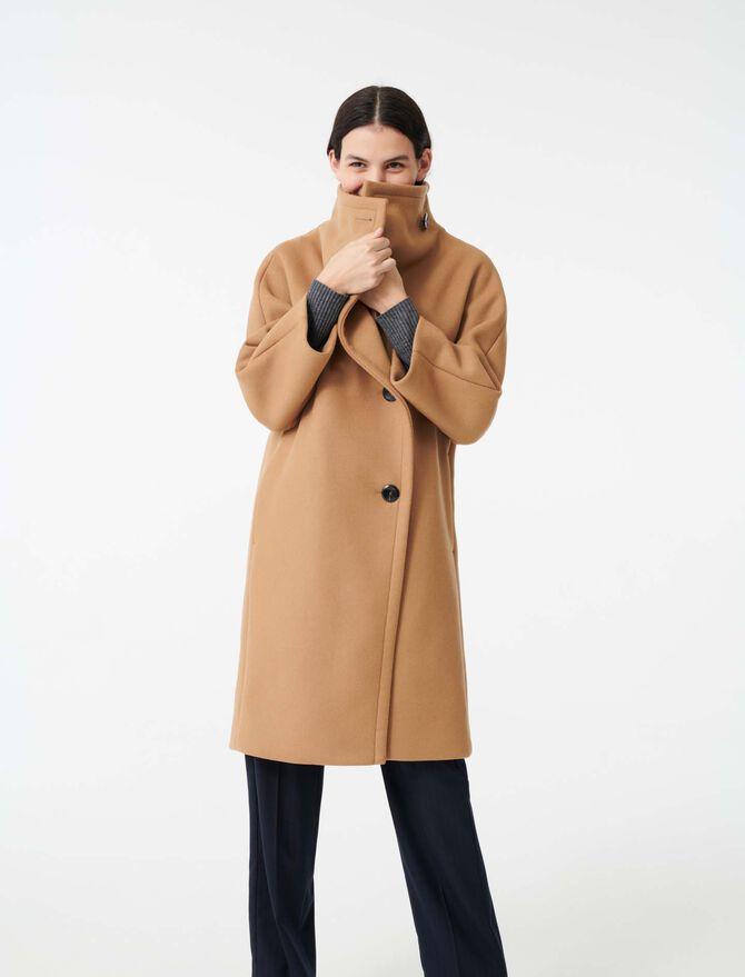 Manteau long grand col en drap de laine - Manteaux & Blousons - MAJE