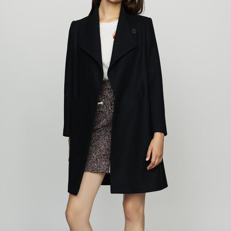 Manteau droit en mixé de cachemire : Manteaux couleur Marine