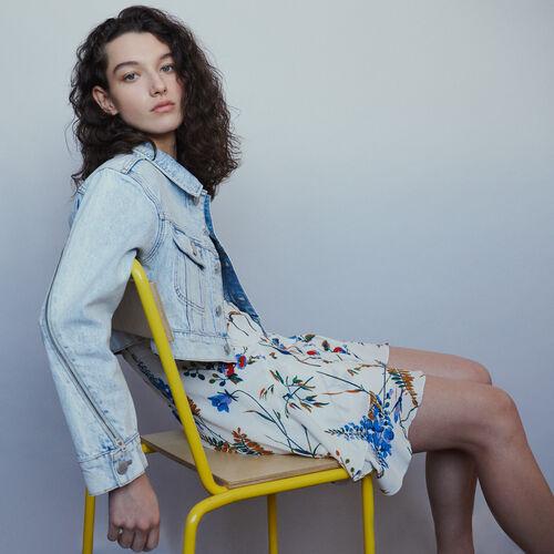Veste courte en jean délavé : Manteaux & Blousons couleur Denim