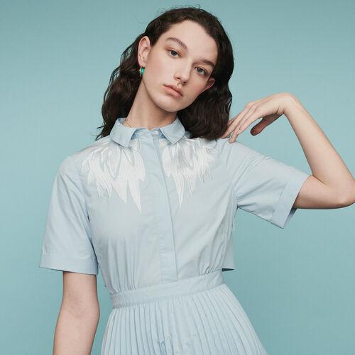 Robe-chemise plissée avec ouverture dos : Robes couleur Bleu