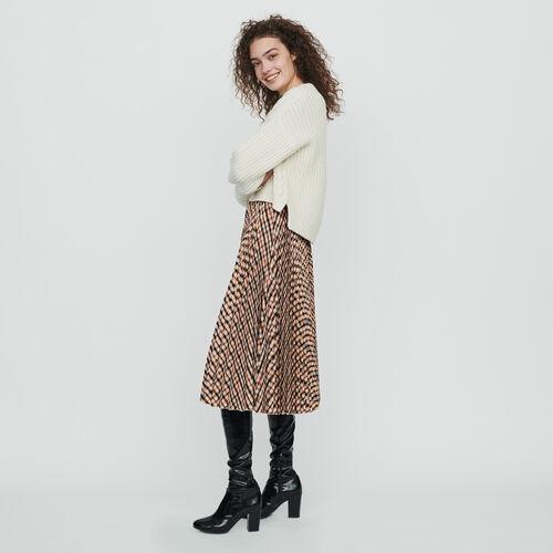 Jupe plissée à carreaux élastiquée : Jupes & Shorts couleur Marron