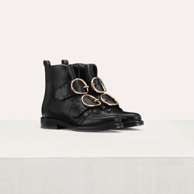Bottines en cuir avec double sangle : Chaussures couleur Black