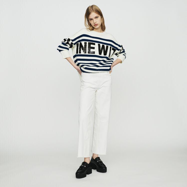 Pull à rayures en laine mélangée : Pulls & Cardigans couleur ECRU