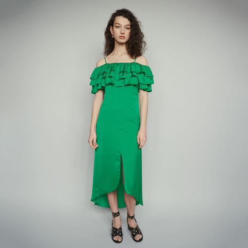 Robe midi fines bretelles à volants : Robes couleur Vert