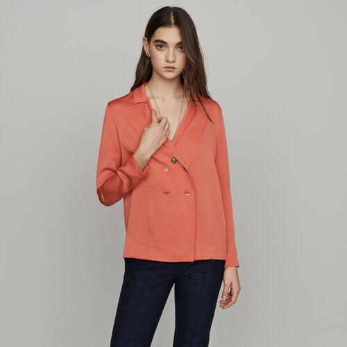 Chemisier façon blazer : Tops & Chemises couleur Corail