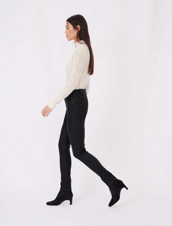 Pantalon cigarette en cuir d'agneau - Pantalons & Jeans - MAJE