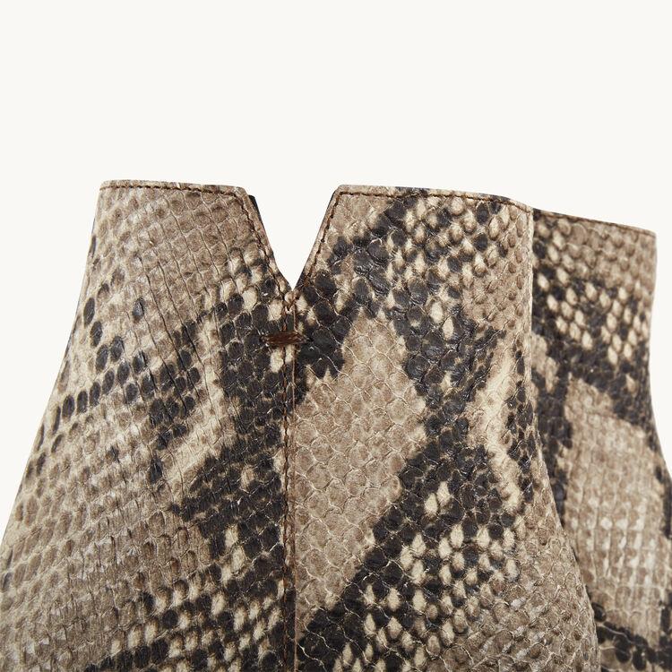 Bottines à talons en cuir effet serpent : Accessoires couleur IMPRIME