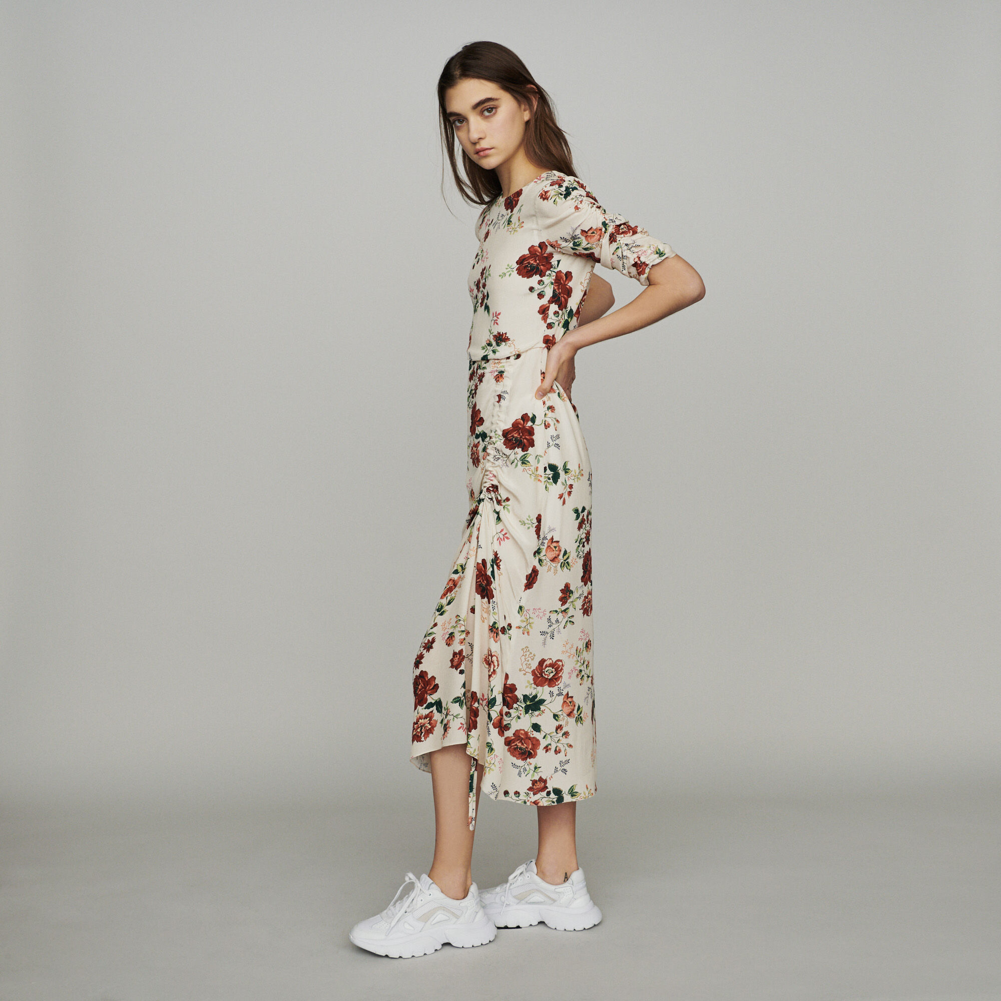 Robe Froncée Imprimé Longue À Floral myNn0wv8O