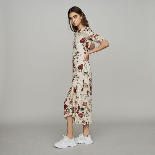 Robe longue froncée à imprimé floral : Robes couleur Imprime