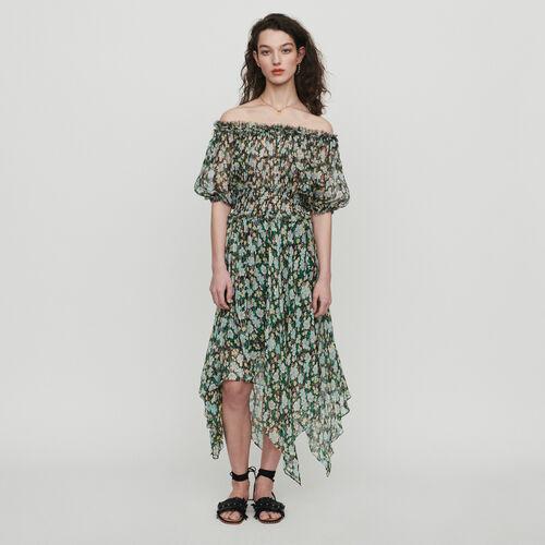 Robe longue en soie en imprimé : Robes couleur IMPRIME