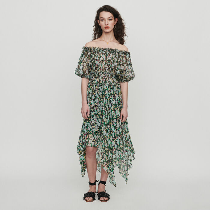 nouvelle arrivee bd531 643f2 RULLI - Robe longue en soie en imprimé - Robes | Maje Paris