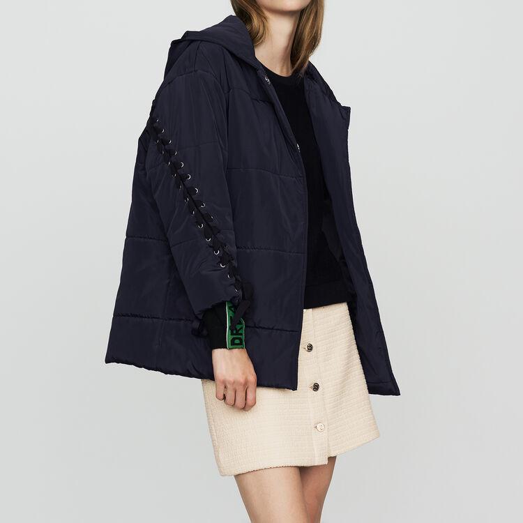 Doudoune courte avec laçage : Manteaux couleur Marine
