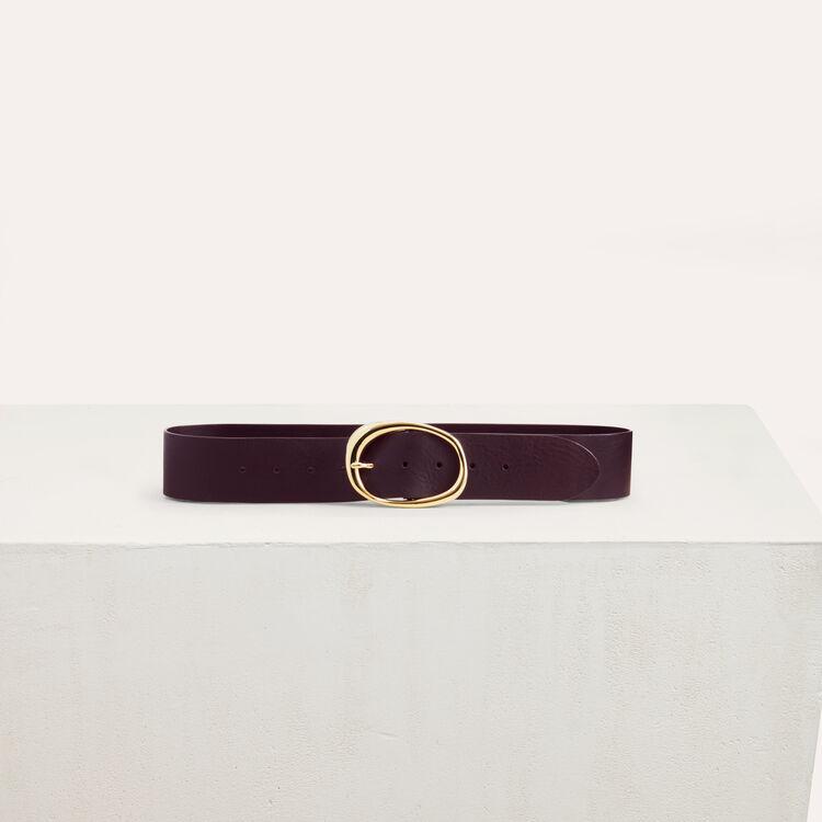 Large ceinture en cuir : Ceintures couleur BORDEAUX