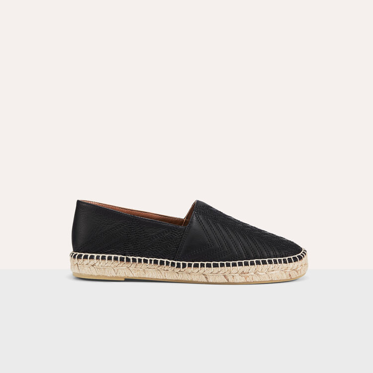 Espadrilles en cuir avec broderies : Chaussures couleur Black