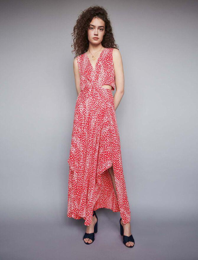 Robe longue nouée en jacquard imprimé - Midseason-Sales_IE_Bestsellers - MAJE