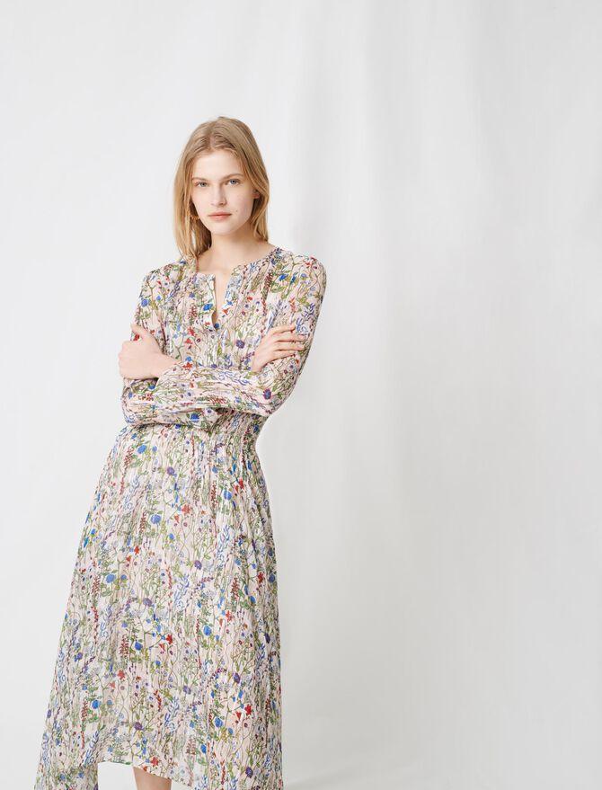 Robe longue asymétrique à imprimé fleuri - Robes - MAJE