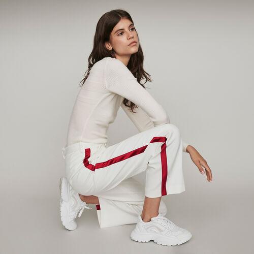 Pantalon large à bandes contrastées : Pantalons & Jeans couleur ECRU