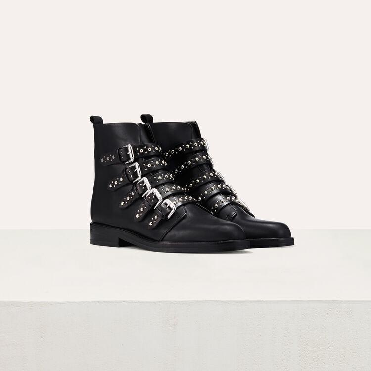 Bottines en cuir avec studs : Chaussures couleur Black