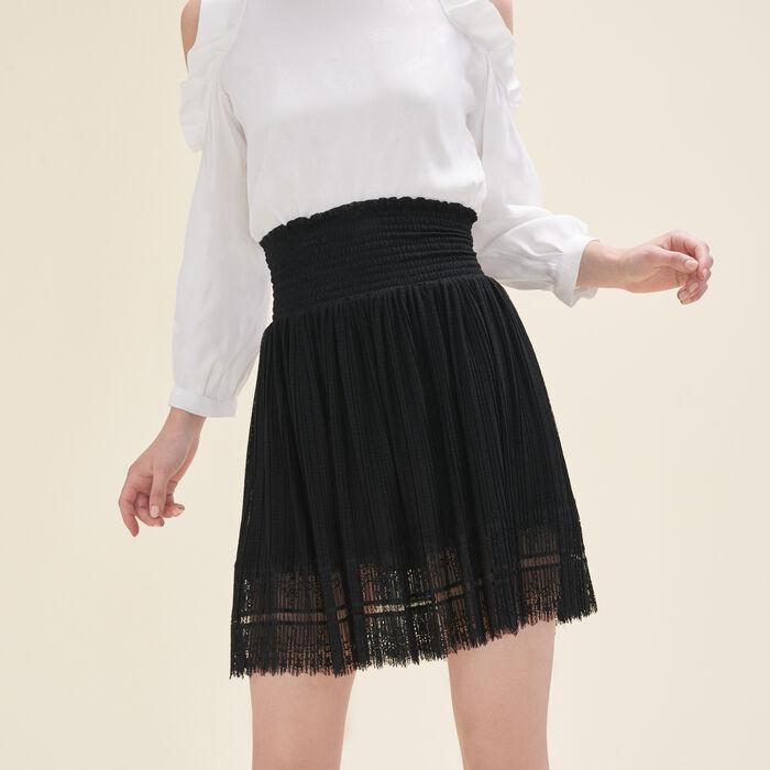 Jupe plissée avec plumetis et dentelle - Jupes & Shorts - MAJE