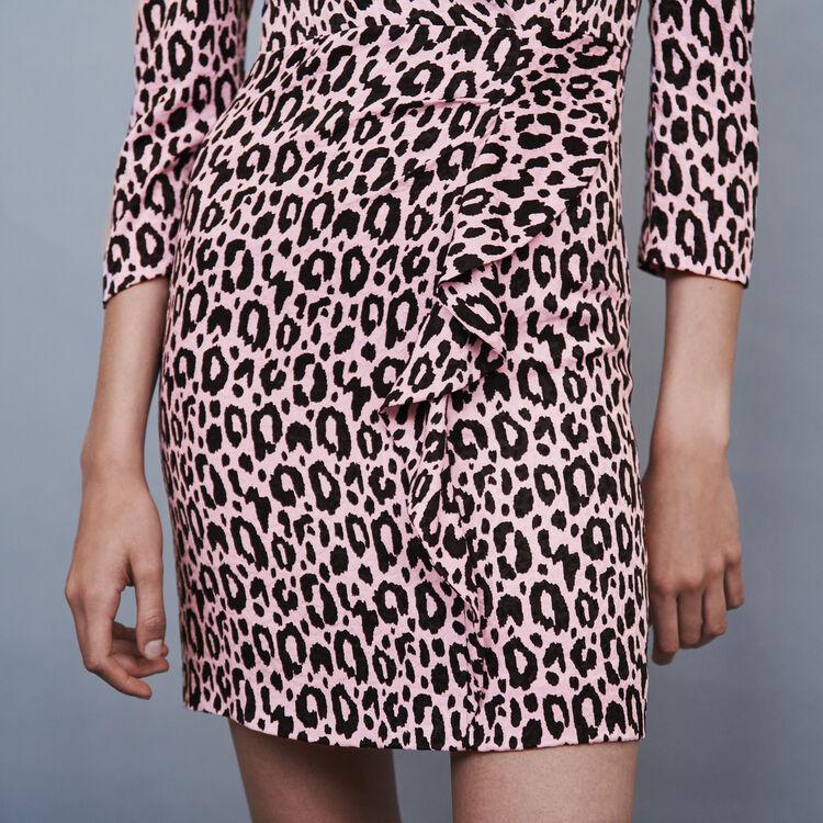 Robe drapée en jacquard imprimé : Robes couleur Rose