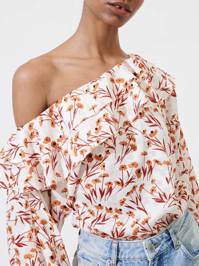 Top fleuri à épaule tombante - Tops & Chemises - MAJE