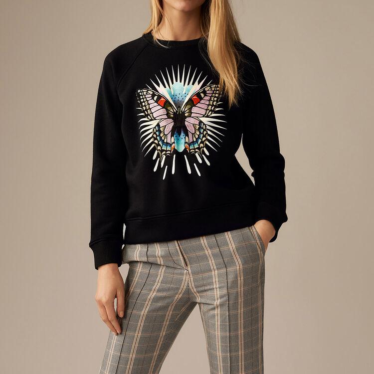 Sweat-shirt avec papillon brodé - Pre-Collection - MAJE