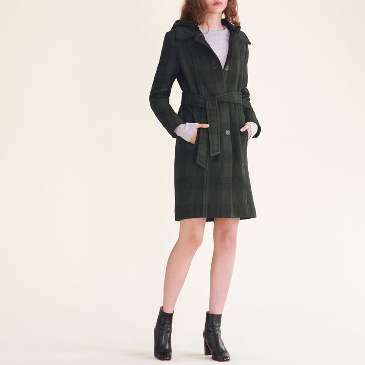 Manteau long à carreaux - Prêt-à-porter - MAJE