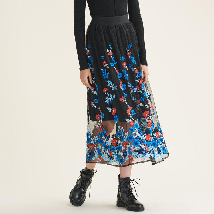 Jupe longue avec broderies florales - Jupes & Shorts - MAJE