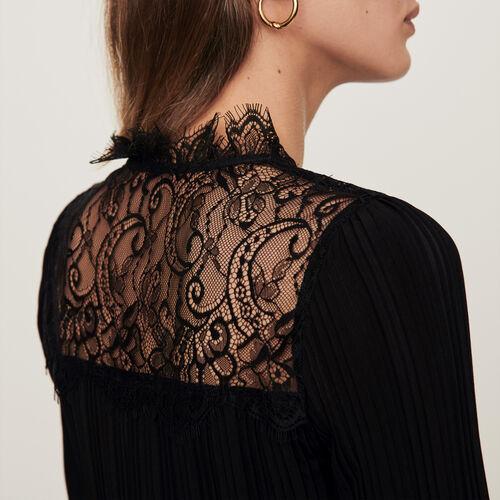 Top plissé à incrustations de dentelle : Collection hiver couleur Noir